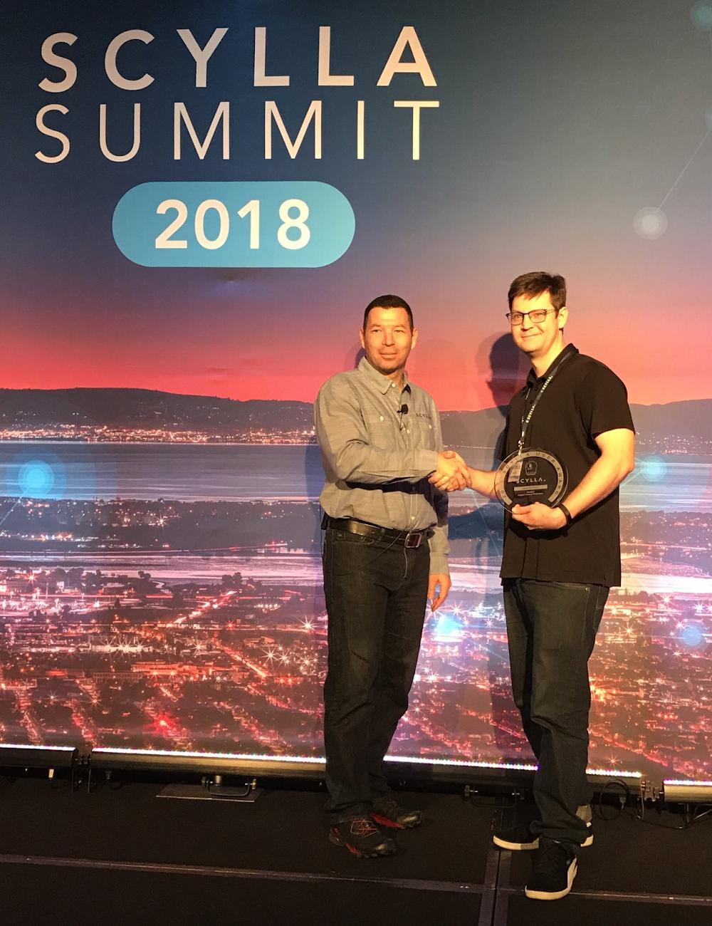Sam Kenkel, Meshify, at Scylla Summit 2018 User Awards (with Dor Laor, ScyllaDB CEO)